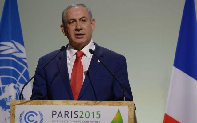 Le Premier ministre Benjamin Netanyahu pendant la COP21, la Conférence des Nations Unies sur les changements climatiques, au Bourget, le 30 novembre 2015.  (Crédit : Amos Ben Gershom/GPO)
