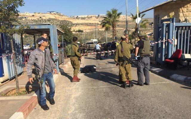 La scène d'une attaque au couteau dans la zone industrielle d'Ariel,le 24 décembre 2015 (Crédit : Mairie d'Ariel)