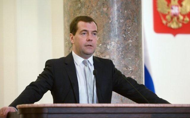 Le Premier ministre russe Dmitry Medvedev (Crédit : Alexander Astafiev/AFP)