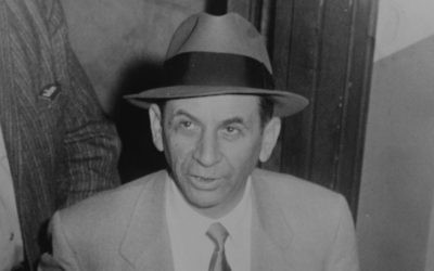 Meyer Lansky au commissariat de New York City en 1958 (Wikimedia Commons / JTA)