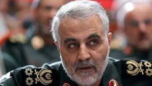 Le commandant des force Al-Qods des Gardiens de la Révolution islamique, Qassem Soleimani (Crédit : YouTube/BBC Newsnight)