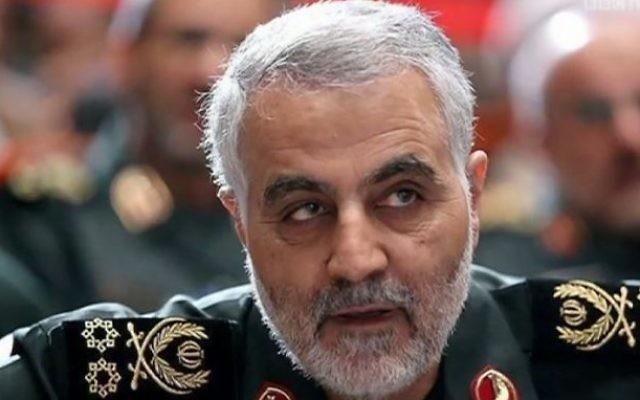 Le commandant des forces Al-Qods des Gardiens de la Révolution islamique, Qassem Soleimani. (Crédit : YouTube/BBC Newsnight)
