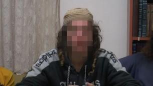 L'un des suspects arrêtés dans le cadre de l'assassinat des Dawabsha le 3 décembre 2015. Encore sous embargo, l'identité des suspects ne peuvent pas être divulgués (Crédit : Capture d'écran)