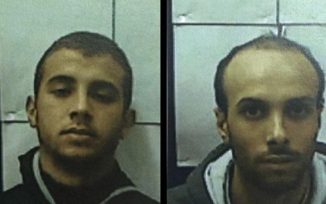 Muhammad Omar Bader Hassan, à gauche, et son cousin, Ahmad Talal Ahmad Saidah, ont été inculpés par un tribunal  de Nazareth pour soutenir et avoir tenté de rejoindre l'Etat islamique, ainsi que pour la planification de mener des attaques terroristes en Israël, le 24 cécembre 2015  (Photos: Shin Bet)