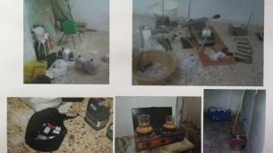 Les services de sécurité du Shin Bet ont publié des photos du laboratoire qui aurait été utilisé par les agents du Hamas pour créer des explosifs pour des attaques suicides ou à la voiture piégée. Cisjordanie, le 23 décembre 2015. (Crédit : courtoisie)