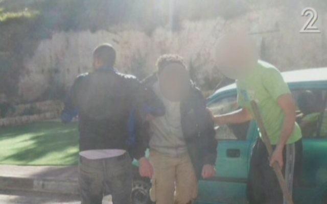 La scène d'une attaque au couteau près de Hébron, le 9 décembre 2015  (Capture d'écran: Deuxième chaîne)