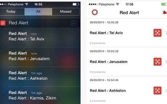 Capture d'écran de Red Alert, l'application israélienne qui avertit les résidents d'attaques imminentes de missile. (Courtoisie)