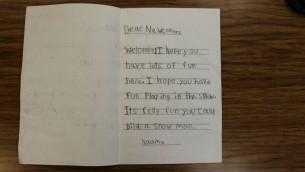 Un message d'un des écoliers. Toronto, Canada, décembre2015. (Crédit : courtoisie)