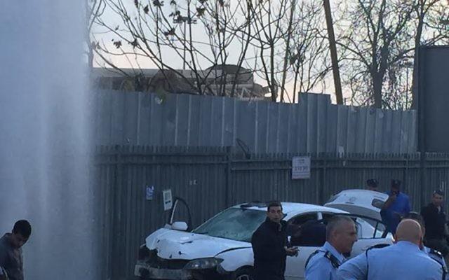 Scène de l'attentat à la voiture-bélier à Jérusalem, le 14 décembre 2015 (Crédit : autorisation)