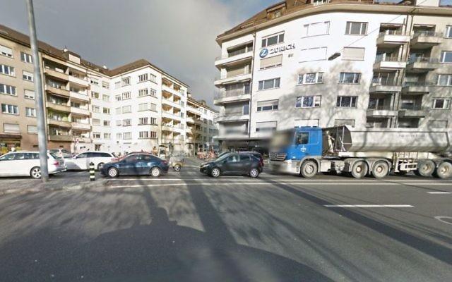 La zone autour d'une école juive de Zurich est fermée par la police pour une menace de sécurité, le 17 décembre 2015. (Crédit : capture d'écran Google Street View)