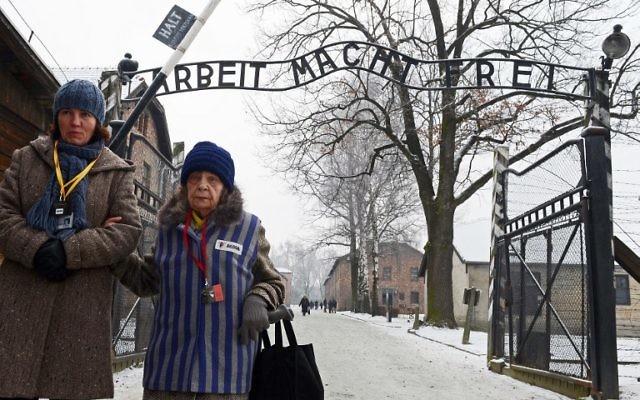 Une ancienne prisonnière du camp de concentration assistant à une cérémonie au mémorial de l'ancien camp de concentration nazi d'Auschwitz-Birkenau le 27 janvier 2014. (Crédit : Janek Skarzynski/AFP)