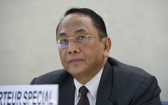 Makarim Wibisono s'adressant au conseil des droits de l'Homme de l'ONU le 23 juillet 2014 (Crédit : ONU / Violaine Martin)