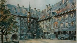 """Un tableau, """"La cour de la vieille résidence à Munich,"""" peint par jeune Adolf Hitler, jeune,  avant qu'il ne se lance dans la politique (Domaine public)"""
