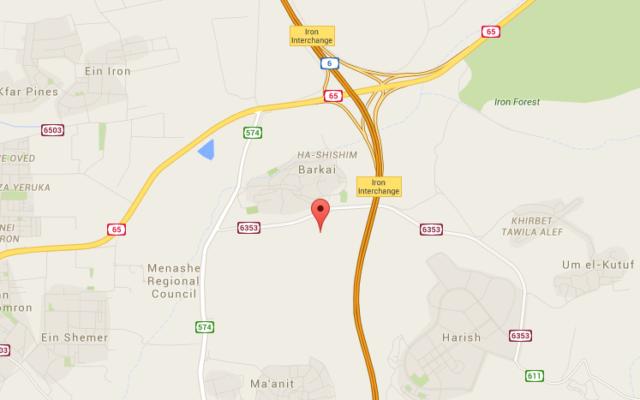 Capture d'écran de l'emplacement de Wadi Ara (Crédit : Google Maps)