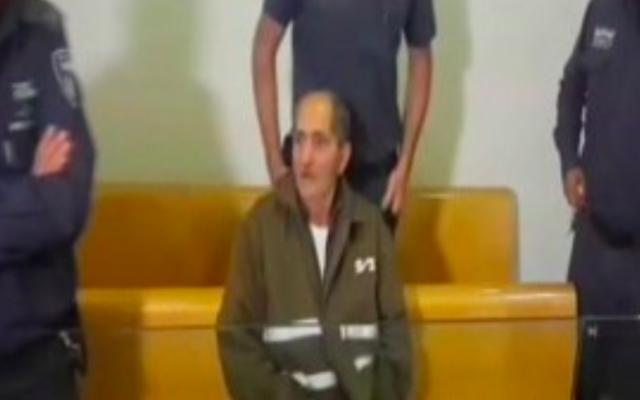 Mohammed Milhem au tribunal de Haïfa le mardi 5 janvier 2016 (Capture d'écran Deuxième chaîne)