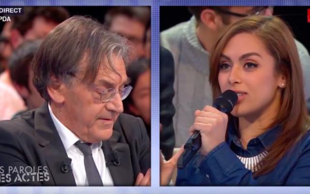 Alain Finkielkraut et Wiam Berhouma à l'émission de France 2 présentée par David Pujadas, Des paroles et des actes, du 21 janvier 2016 (Crédit : YouTube)