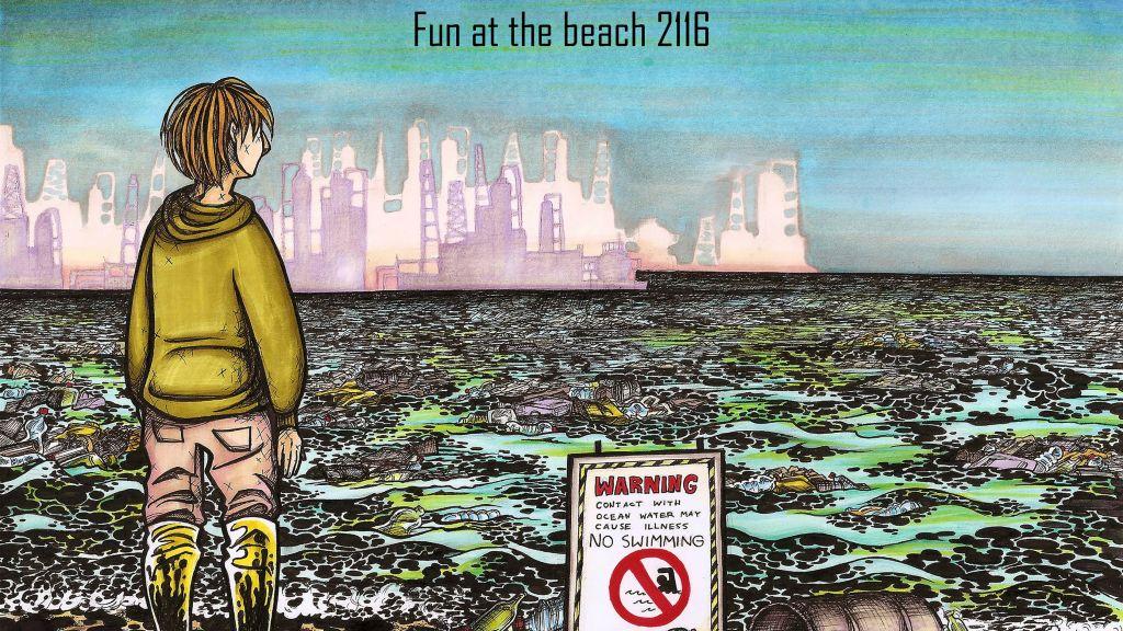 """La caricature de Yosepha Yaacobowitz, """"Fun at the Beach"""", qui a remporté la deuxième place du concours de caricature des lycéens à l'anniversaire de l'attaque terroriste contre Charlie Hebdo à Paris, qui a tué six personnes (Crédit : Autorisation Jerusalem Press Club)"""