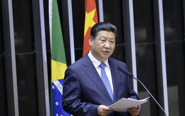 Le president de la Republique populaire de Chine, Xi Jinping, devant le congrès brésilien le 16 juillet 2014 (Crédit : Edilson Rodrigues/Agência Senado/ Creative Commons Attribution 2.0 Generic)