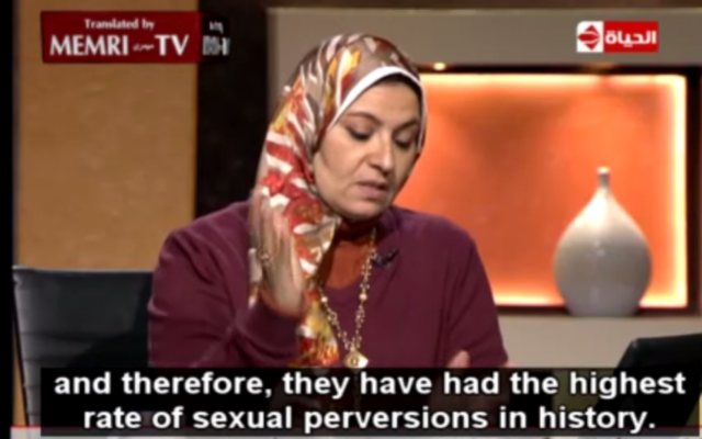 La sexologue égyptienne Heba Kotb sur al-Hayat TV le 16 janvier 2015 (Crédit : Capture d'écran MEMRI)