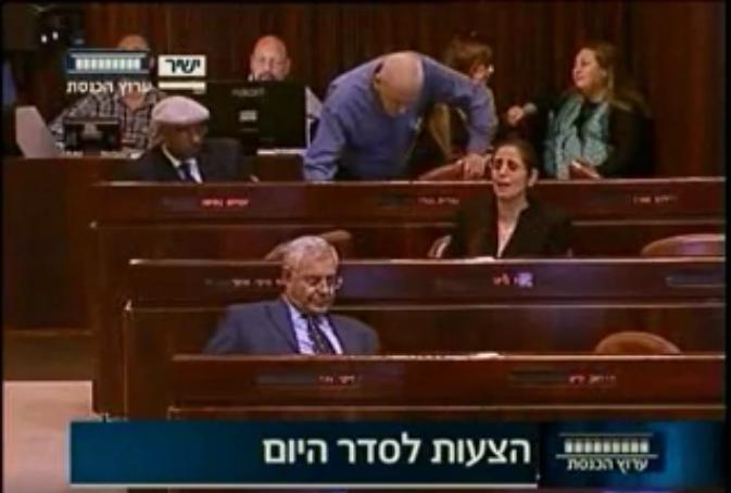 La députée du Likud, Anat Berko, (au centre) lors d'une joute verbale avec Frej le 6 janvier (Crédit : Capture d'écran de la Chaîne de la Knesset)