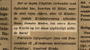 """Publicité dans un journal danois en 1939: """"Mères danoises, ouvrez vos cœurs et vos maisons pour ces malheureux enfants! """" (Autorisation)"""