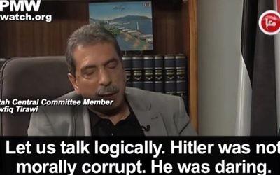 Tawfik Tirawi, dans une interview diffusée sur Maan, le samedi 16 janvier 2016 (Crédit : Capture d'écran YouTube)