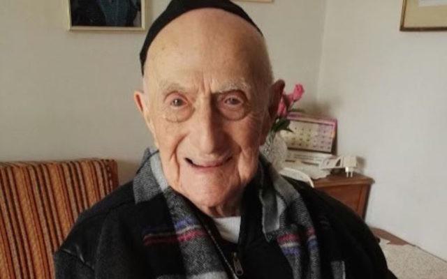 Le survivant de l'Holocauste, Yisrael Kristal, 113 ans, est considéré comme le plus vieil homme du monde. (Crédit : autorisation de la famille)