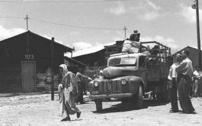 Les immigrants juifs en provenance d'Irak arrivant au camp de transit d'Atlit, en uin 1951 (Crédit : GPO)