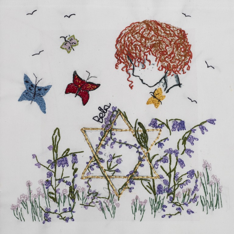 Le carré de Joanna Millan, créé avec l'aide de sa petite-fille. (Crédit : autorisation)