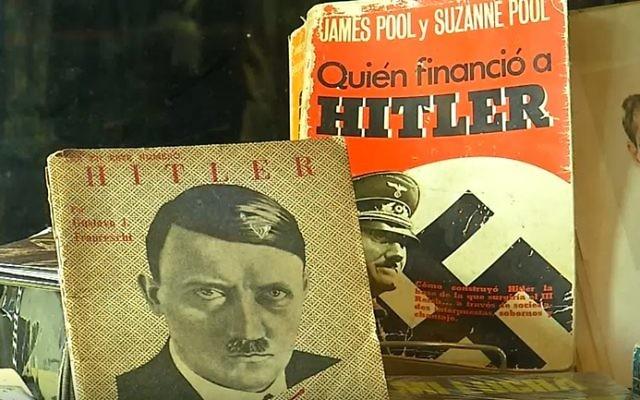 Des objets nazis dans un magasin uruguayen. (Crédit : capture d'écran YouTube)