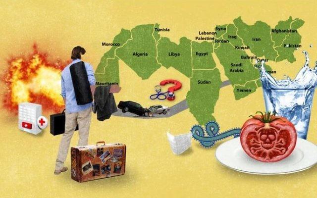 """La carte de NPR remplaçant Israël par la """"Palestine"""", mis en évidence par HonestReporting.com (Crédit : Autorisation)"""