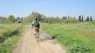 """Patricio (Pato) Tanner, propriétaire du magasin de vélo """"217"""", roule près du kibboutz Carmia, le 21 janvier 2016. (Crédit : Melanie Lidman/Times of Israel)"""