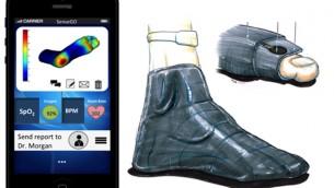 Une vue de l'application SenseGo (à gauche) et une vue d'artiste de la chaussette en action (à droite). (Crédit : autorisation)