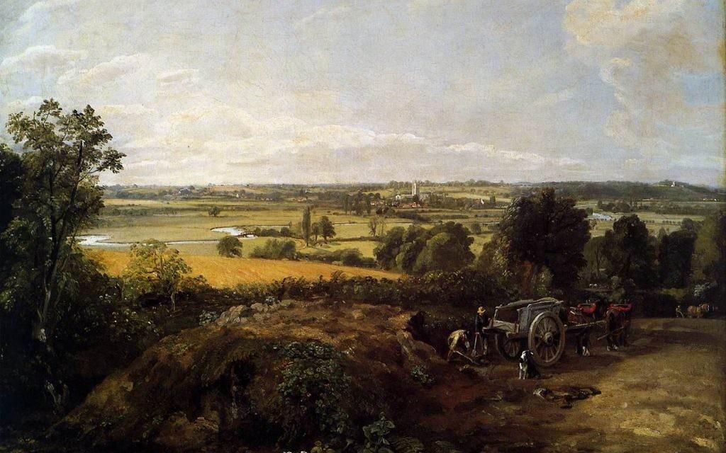 """""""The Stour Valley"""", de John Constable, peinte en 1814. Le tableau, aujourd'hui propriété d'une ville suisse, a été confisqué à Anne Jaffe par le régime de Vichy en 1942. (Crédit : domaine public)"""
