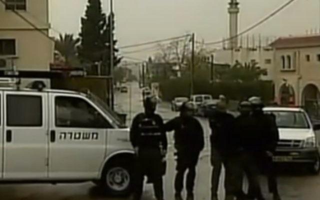 Les forces de l'ordre israélienne à Wadi Ara, le 8 janvier 2016. Illustration. (Crédit : capture d'écran Deuxième chaîne)