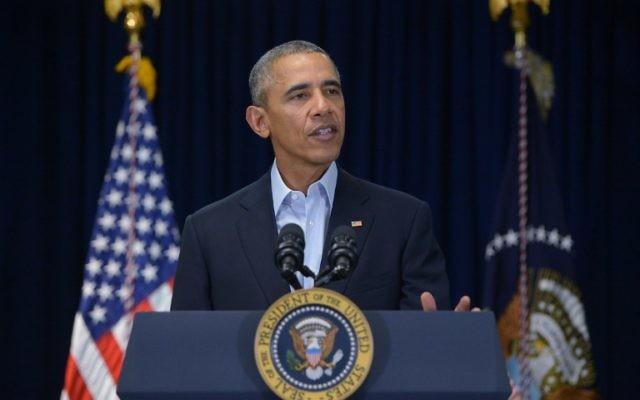 Barack Obama, alors président américain, le 13 février 2016. (Crédit : Mandel Ngan/AFP)