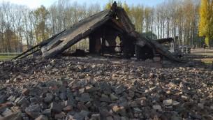 Ruines d'une installation de chambre à gaz et four crématoire à Auschwitz-Birkenau, connue sous le nom de Krematorium II, en novembre 2015. (Crédit : Matt Lebovic/The Times of Israel)