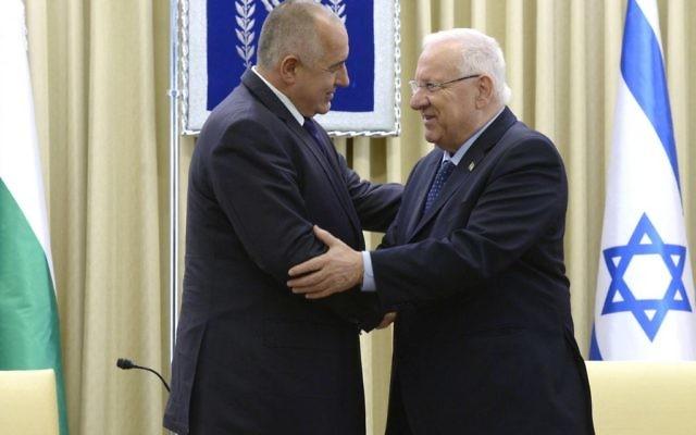 Le président israélien Reuven Rivlin et le Premier ministre bulgare Boyko Borissov (Crédit : Mark Neyman / GPO)