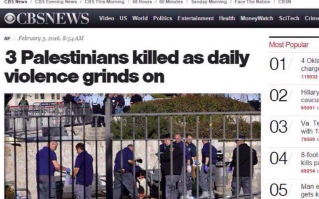 """Titre de l'article """"biaisé"""" de CBSnews suite à l'attaque fatale dans la Vieille Ville de Jérusalem le 3 février 2016 (Crédit : capture d'écran @NTarnopolsky)"""