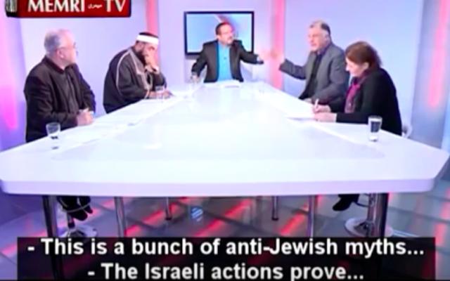 """Neji Djelloul, politicien tunisien deuxième en partant de la droite (Capture d'écran : YouTube/Tunisian Politician Challenges TV Host: """"The Protocols of the Elders of Zion"""" Is a Forgery)"""