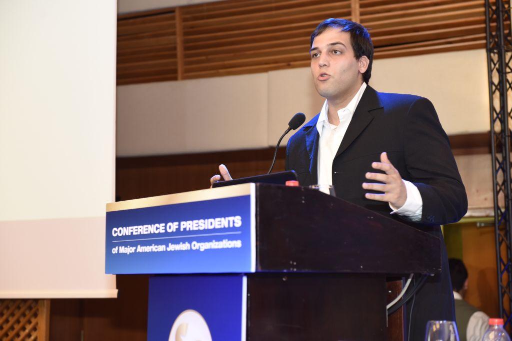Ido Daniel, directeur du programme national de l'ISCA - des étudiants israéliens qui luttent contre l'antisémitisme au sein de l'Union nationale des étudiants israéliens (NUIS) lors de la Conférence des présidents à Jérusalem, le 16 février 2016 (Crédit : Tamir Hayoun)