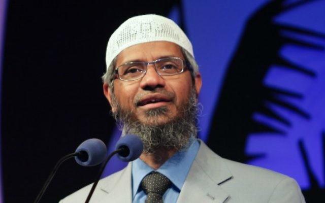 Le missionnaire islamique et fondateur de Peace TV basé à Dubaï Zakir Naif. (Crédit : Wikimedia/maapu/CC BY 2.0)