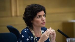 La député Tamar Zandberg au parlement israélien, le 19 octobre 2015 (Crédit : Flash90)