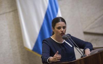 La ministre de la Justice Ayelet Shaked pendant la session plénière de la Knesset, avant le vote sur son projet de loi controversé sur les ONG, le 8 février 2016. (Crédit : Hadas Parush/Flash90)