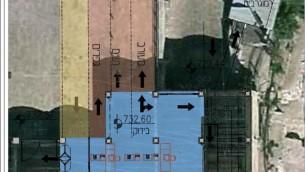 Les trois flèches représentent les portiques d'accès à l'esplanade du mur Occidental, pour les hommes, les femmes et l'entrée mixte (JTA)