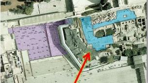 L'actuelle section pluraliste, en bleu, va doubler de taille. La section orthodoxe est en violet. La zone à l'arrière de la section orthodoxe est destinée aux cérémonies nationales (JTA)