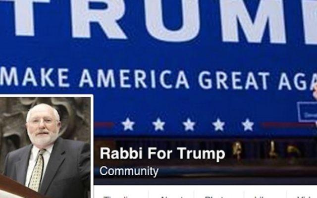 """La page Facebook """"Le rabbin pour Trump""""  (Capture d'écran Facebook)"""