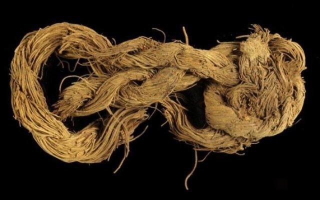 Une corde fabriquée en fibre d'un palmier dattier trouvée au site 34 (Crédit : Clara Amit / Israel Antiquities Authority)