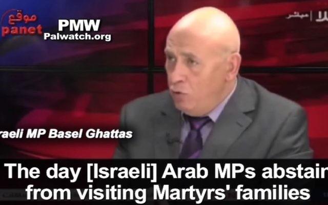Le député du parti Balad MK basel Ghattas sur Hala TV le 10 février 2016 (Crédit : Capture d'écran)