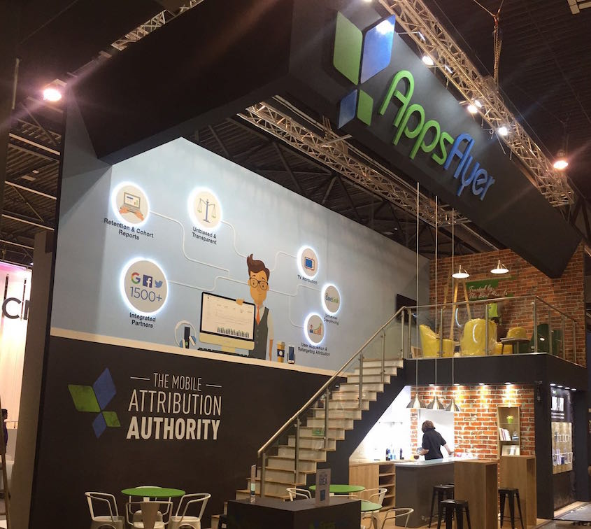 Le stand d'AppsFlyer au Mobile World Congress 2016 (Crédit : Autorisation)